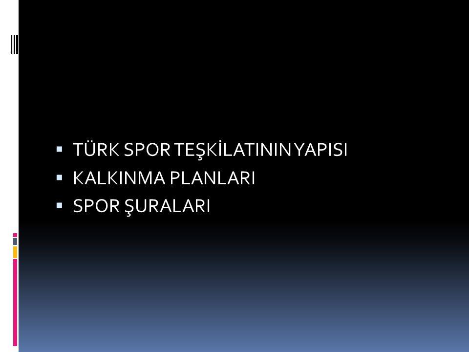 Cumhuriyet Öncesi Türk Spor Teşkilatı 1903 Öncesi Dönem Osmanlı Devleti döneminde sporun kitlelere ulaşmasını sağlayan bugünkü kulüplerin yerini tutan tekkeler bulunmaktaydı.