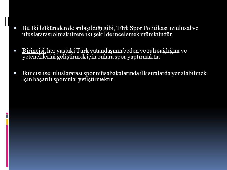  Bu İki hükümden de anlaşıldığı gibi, Türk Spor Politikası'nı ulusal ve uluslararası olmak üzere iki şekilde incelemek mümkündür.