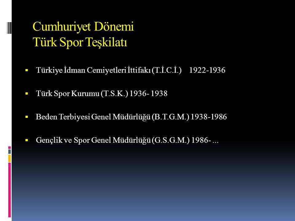 Cumhuriyet Dönemi Türk Spor Teşkilatı  Türkiye İdman Cemiyetleri İttifakı (T.İ.C.İ.) 1922-1936  Türk Spor Kurumu (T.S.K.) 1936- 1938  Beden Terbiyesi Genel Müdürlüğü (B.T.G.M.) 1938-1986  Gençlik ve Spor Genel Müdürlüğü (G.S.G.M.) 1986-...