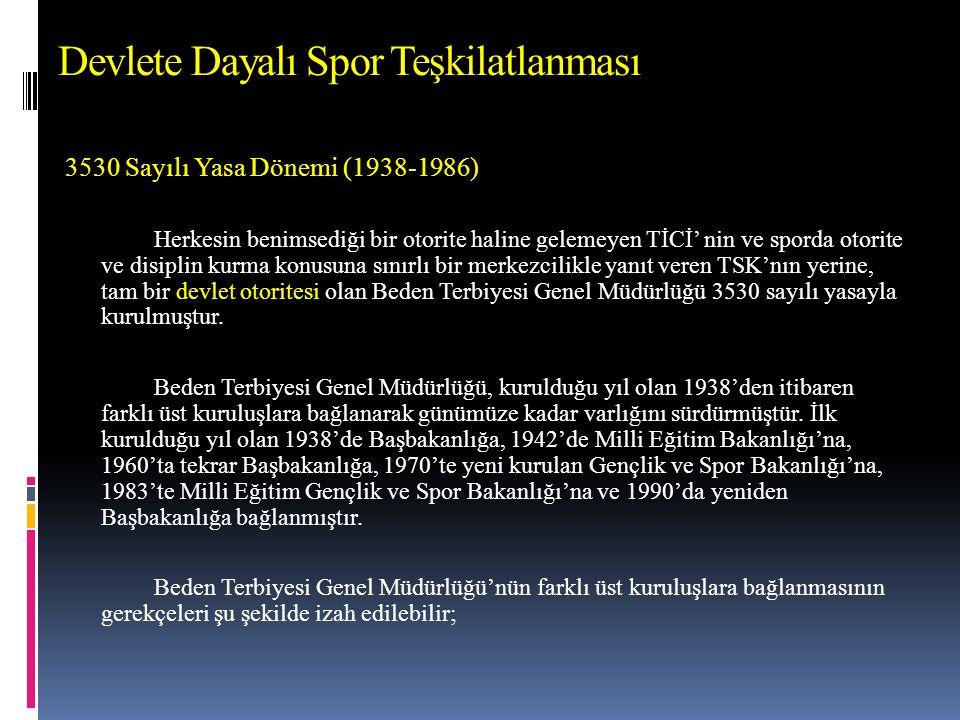 Eğitim Dördüncü Beş Yıllık Kalkınma Planı (1979-1983)  Ekonomik ve toplumsal kalkınmanın temel öğesi olan insanın beden ve ruh sağlığını geliştirmek üzere, sporun bir seyir ve gösteri aracı olmaktan çok okullardan başlayarak örgütlü ve bilimsel bir biçimde kitlelere yayılması temel ilkedir.
