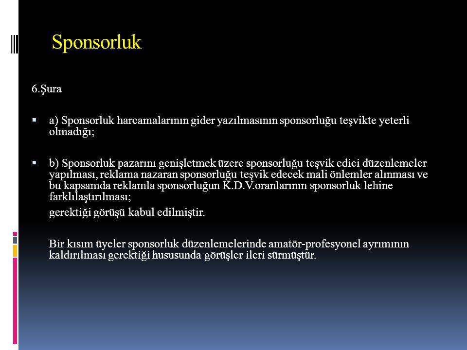 Sponsorluk 6.Şura  a) Sponsorluk harcamalarının gider yazılmasının sponsorluğu teşvikte yeterli olmadığı;  b) Sponsorluk pazarını genişletmek üzere sponsorluğu teşvik edici düzenlemeler yapılması, reklama nazaran sponsorluğu teşvik edecek mali önlemler alınması ve bu kapsamda reklamla sponsorluğun K.D.V.oranlarının sponsorluk lehine farklılaştırılması; gerektiği görüşü kabul edilmiştir.