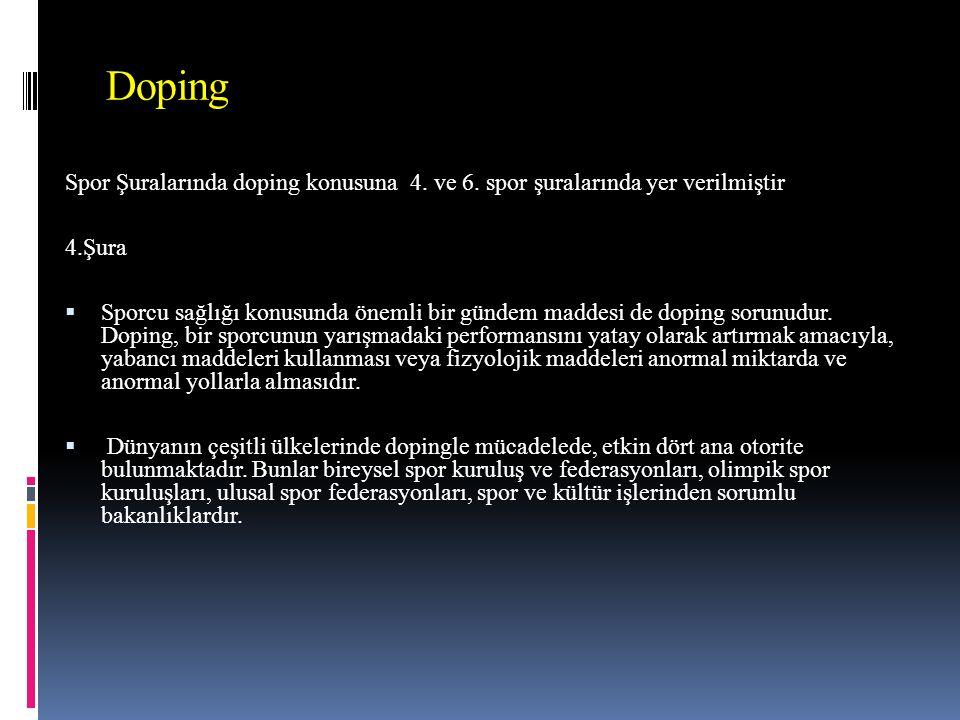 Doping Spor Şuralarında doping konusuna 4. ve 6.