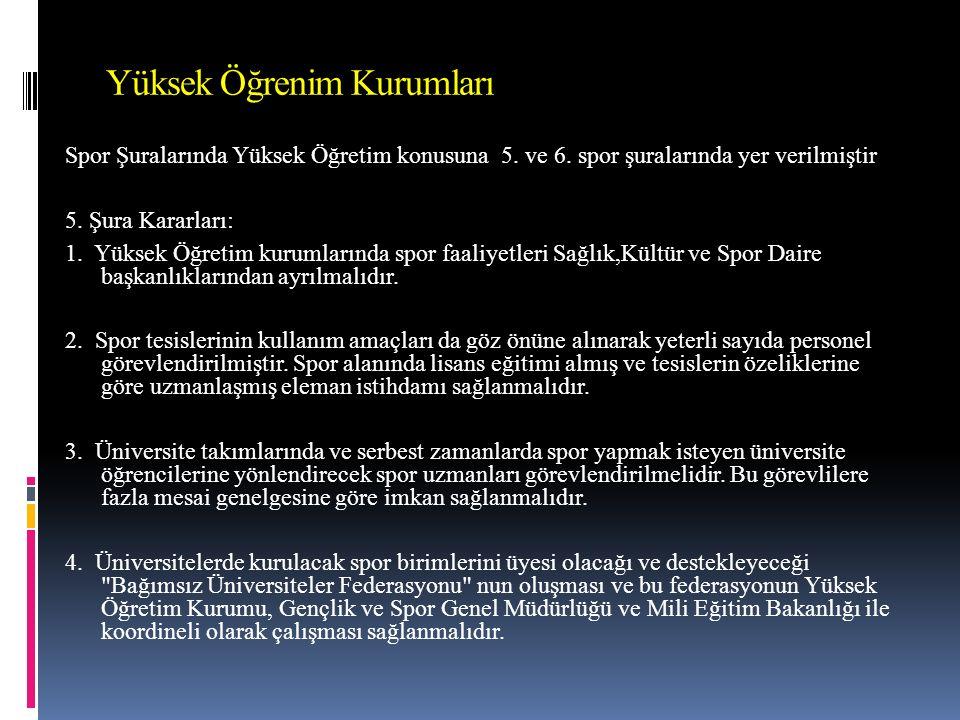 Yüksek Öğrenim Kurumları Spor Şuralarında Yüksek Öğretim konusuna 5.
