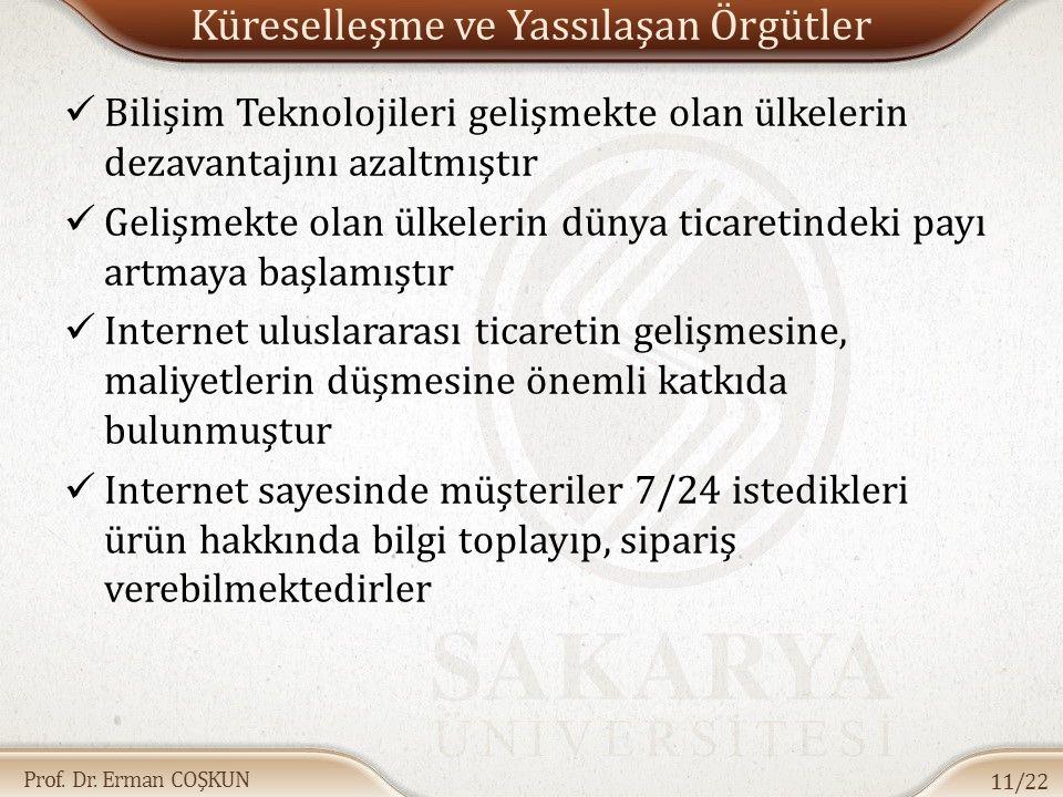 Prof. Dr. Erman COŞKUN Küreselleşme ve Yassılaşan Örgütler Bilişim Teknolojileri gelişmekte olan ülkelerin dezavantajını azaltmıştır Gelişmekte olan ü