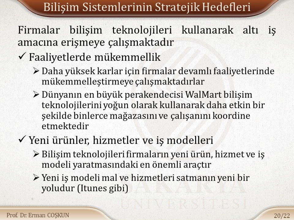 Prof. Dr. Erman COŞKUN Bilişim Sistemlerinin Stratejik Hedefleri Firmalar bilişim teknolojileri kullanarak altı iş amacına erişmeye çalışmaktadır Faal