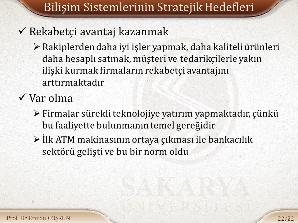 Prof. Dr. Erman COŞKUN Bilişim Sistemlerinin Stratejik Hedefleri Rekabetçi avantaj kazanmak  Rakiplerden daha iyi işler yapmak, daha kaliteli ürünler