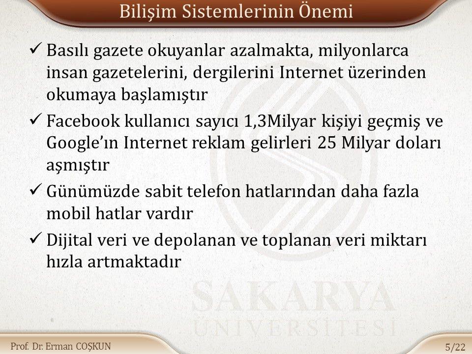 Prof. Dr. Erman COŞKUN Bilişim Sistemlerinin Önemi Basılı gazete okuyanlar azalmakta, milyonlarca insan gazetelerini, dergilerini Internet üzerinden o