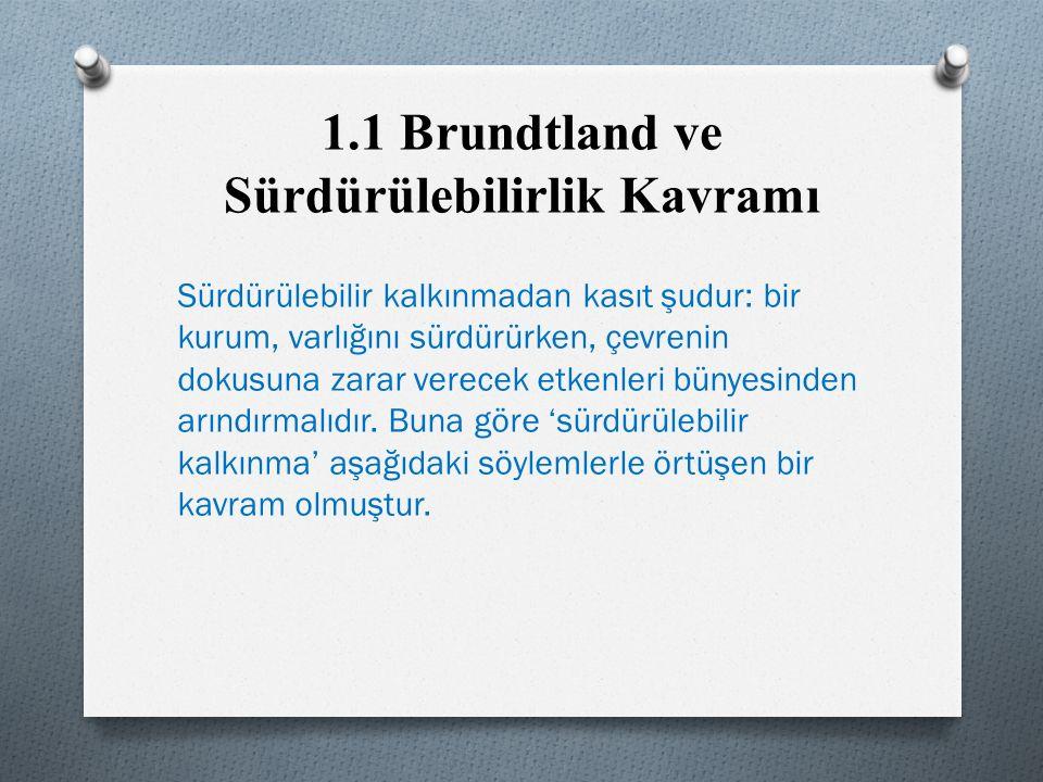 1.1 Brundtland ve Sürdürülebilirlik Kavramı Sürdürülebilir kalkınmadan kasıt şudur: bir kurum, varlığını sürdürürken, çevrenin dokusuna zarar verecek etkenleri bünyesinden arındırmalıdır.