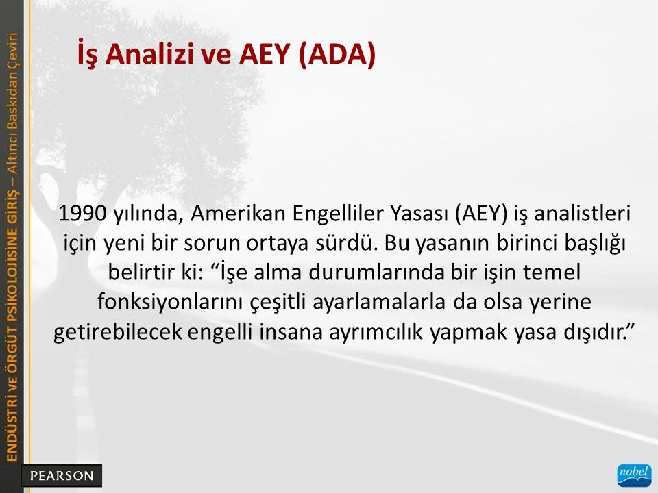 İş Analizi ve AEY (ADA) 1990 yılında, Amerikan Engelliler Yasası (AEY) iş analistleri için yeni bir sorun ortaya sürdü.