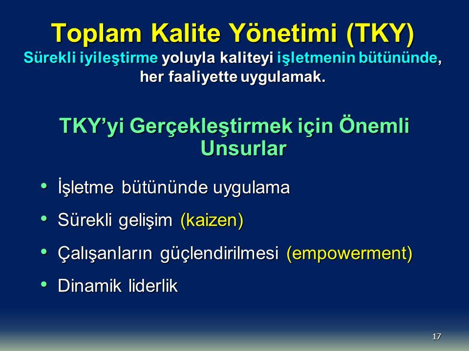 17 Toplam Kalite Yönetimi (TKY) Sürekli iyileştirme yoluyla kaliteyi işletmenin bütününde, her faaliyette uygulamak.