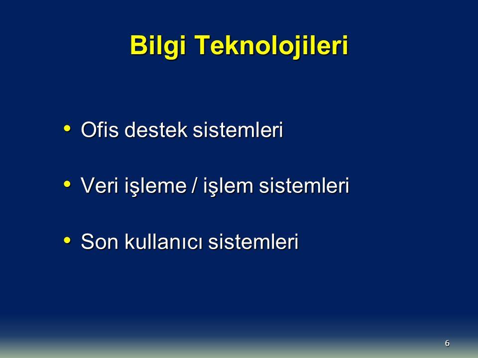 6 Bilgi Teknolojileri Ofis destek sistemleri Ofis destek sistemleri Veri işleme / işlem sistemleri Veri işleme / işlem sistemleri Son kullanıcı sistemleri Son kullanıcı sistemleri