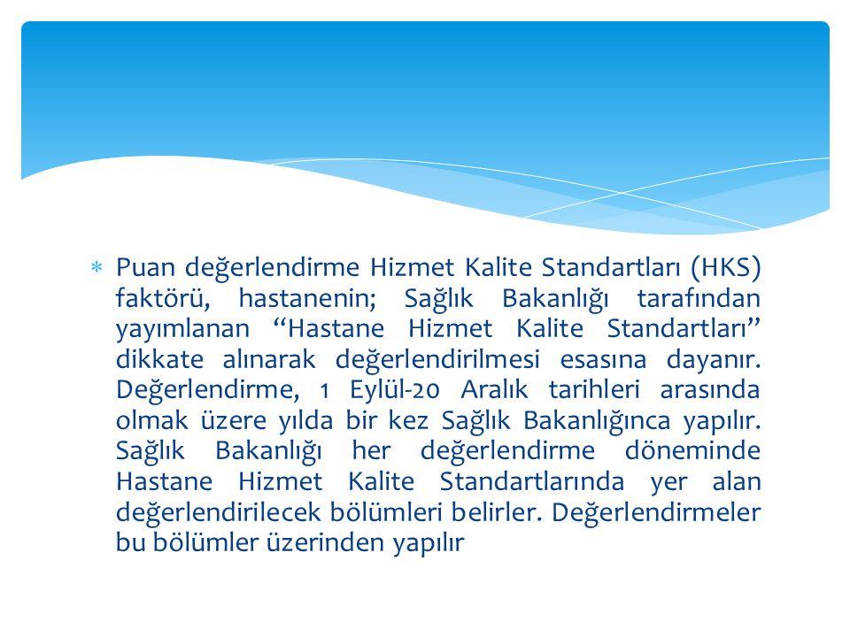 """ Puan değerlendirme Hizmet Kalite Standartları (HKS) faktörü, hastanenin; Sağlık Bakanlığı tarafından yayımlanan """"Hastane Hizmet Kalite Standartları"""""""