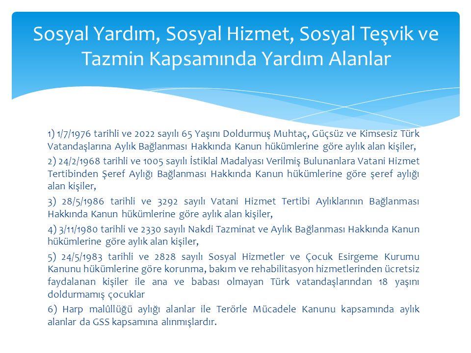 1) 1/7/1976 tarihli ve 2022 sayılı 65 Yaşını Doldurmuş Muhtaç, Güçsüz ve Kimsesiz Türk Vatandaşlarına Aylık Bağlanması Hakkında Kanun hükümlerine göre