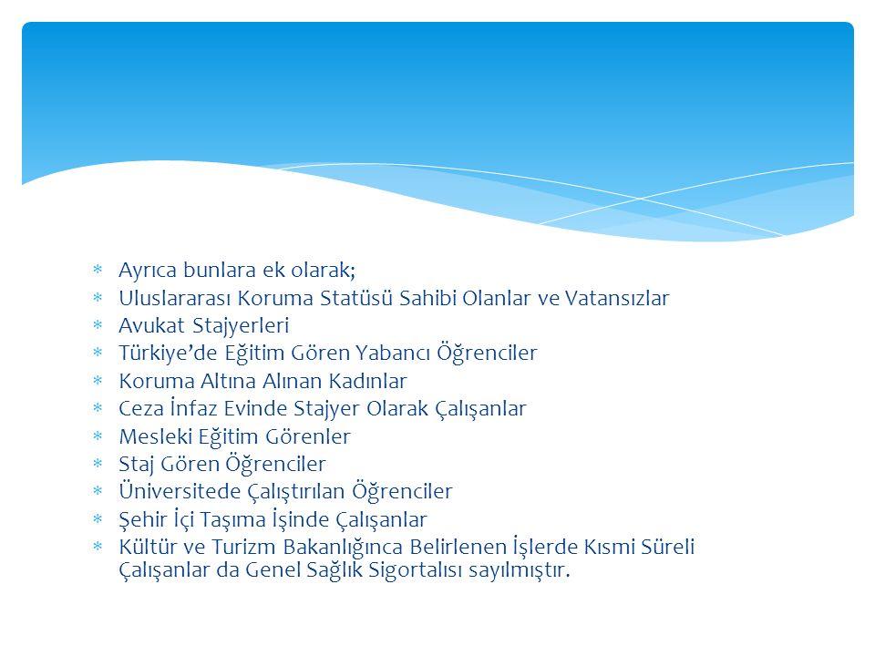  Ayrıca bunlara ek olarak;  Uluslararası Koruma Statüsü Sahibi Olanlar ve Vatansızlar  Avukat Stajyerleri  Türkiye'de Eğitim Gören Yabancı Öğrenci