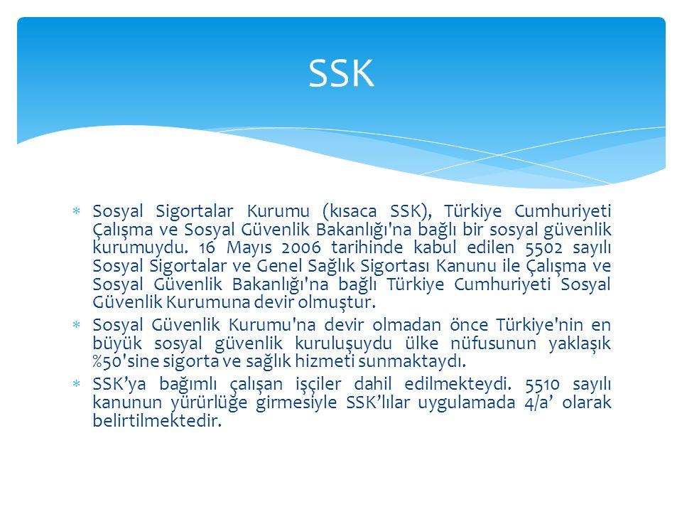  Sosyal Sigortalar Kurumu (kısaca SSK), Türkiye Cumhuriyeti Çalışma ve Sosyal Güvenlik Bakanlığı'na bağlı bir sosyal güvenlik kurumuydu. 16 Mayıs 200