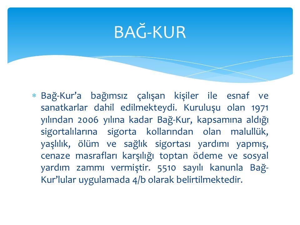  Emekli Sandığı Maliye Bakanlığı na bağlı bir kurum olarak, Türkiye de emekli olan memurların sosyal güvencesini sağlamakla yükümlü kurumdu.