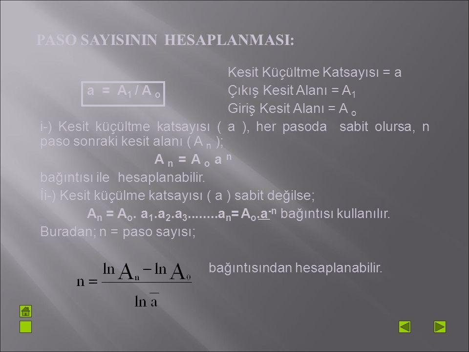 Kesit Küçültme Katsayısı = a a = A 1 / A o Çıkış Kesit Alanı = A 1 Giriş Kesit Alanı = A o i-) Kesit küçültme katsayısı ( a ), her pasoda sabit olursa
