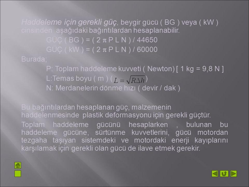 Haddeleme için gerekli güç, beygir gücü ( BG ) veya ( kW ) cinsinden aşağıdaki bağıntılardan hesaplanabilir. GÜÇ ( BG ) = ( 2  P L N ) / 44650 GÜÇ (