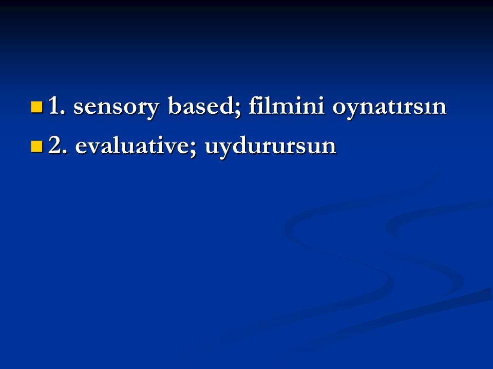1. sensory based; filmini oynatırsın 1. sensory based; filmini oynatırsın 2. evaluative; uydurursun 2. evaluative; uydurursun