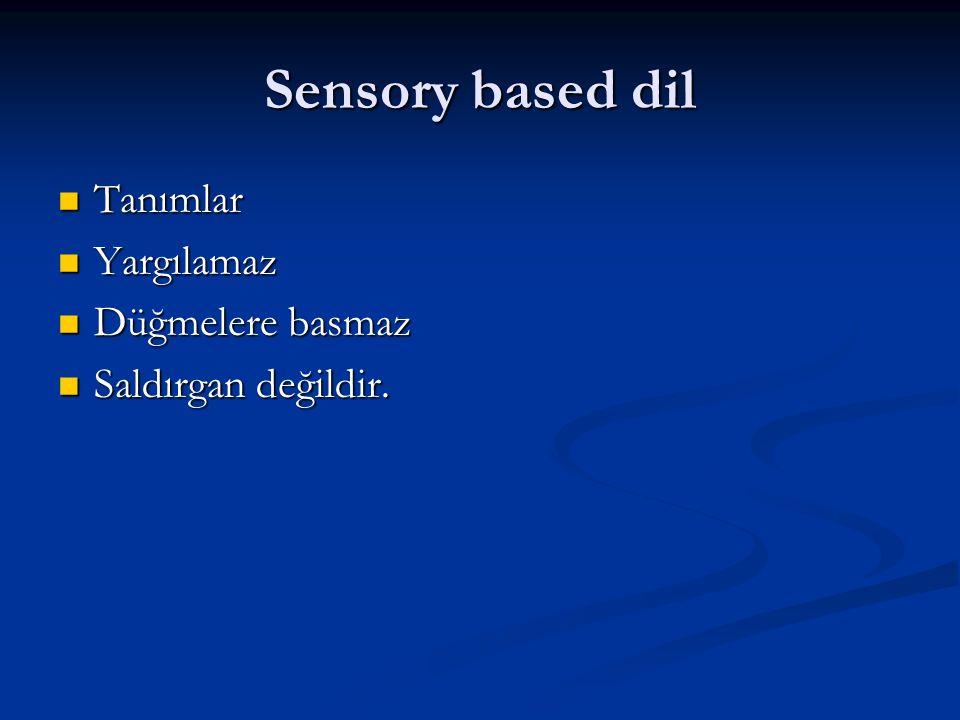 Sensory based dil Tanımlar Tanımlar Yargılamaz Yargılamaz Düğmelere basmaz Düğmelere basmaz Saldırgan değildir. Saldırgan değildir.