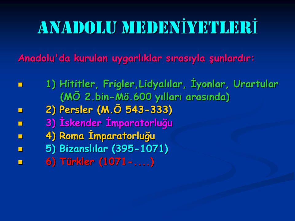 ANADOLU MEDEN İ YETLER İ Anadolu'da kurulan uygarlıklar sırasıyla şunlardır: 1) Hititler, Frigler,Lidyalılar, İyonlar, Urartular 1) Hititler, Frigler,