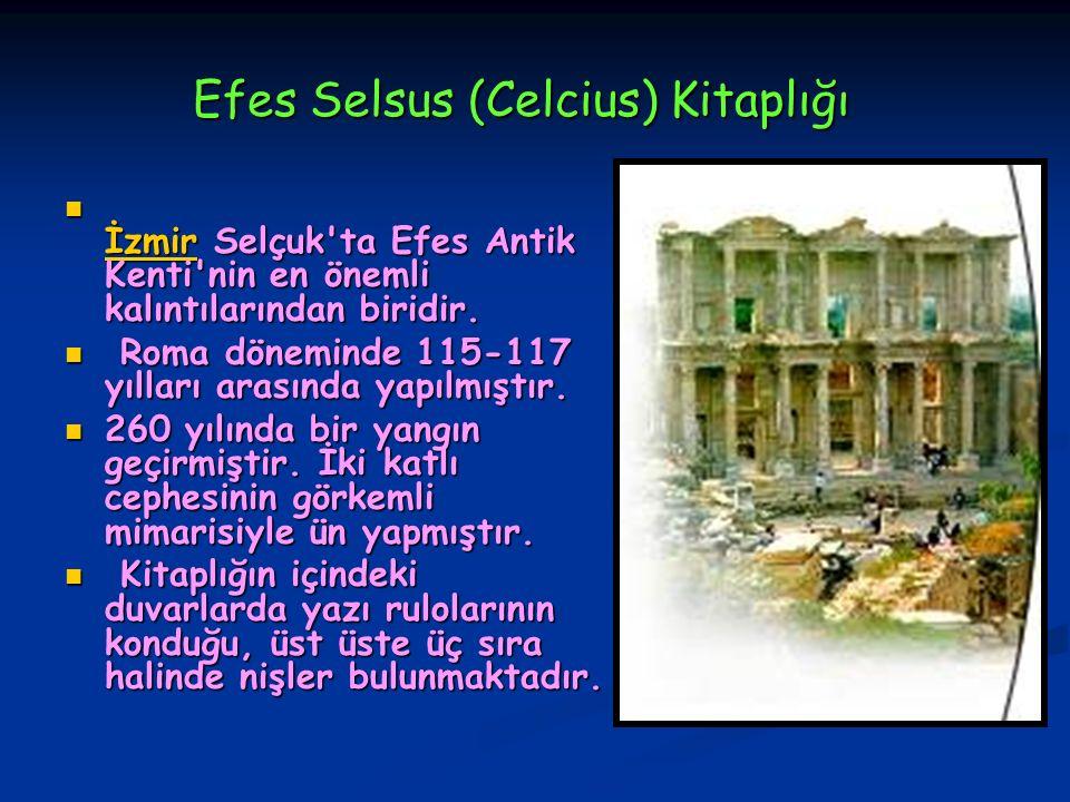 Efes Selsus (Celcius) Kitaplığı Efes Selsus (Celcius) Kitaplığı İzmir Selçuk'ta Efes Antik Kenti'nin en önemli kalıntılarından biridir. İzmir Selçuk't