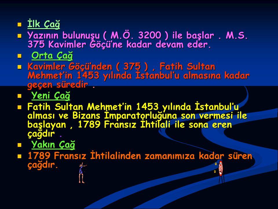 İlk Çağ İlk Çağ Yazının bulunuşu ( M.Ö. 3200 ) ile başlar. M.S. 375 Kavimler Göçü'ne kadar devam eder. Yazının bulunuşu ( M.Ö. 3200 ) ile başlar. M.S.