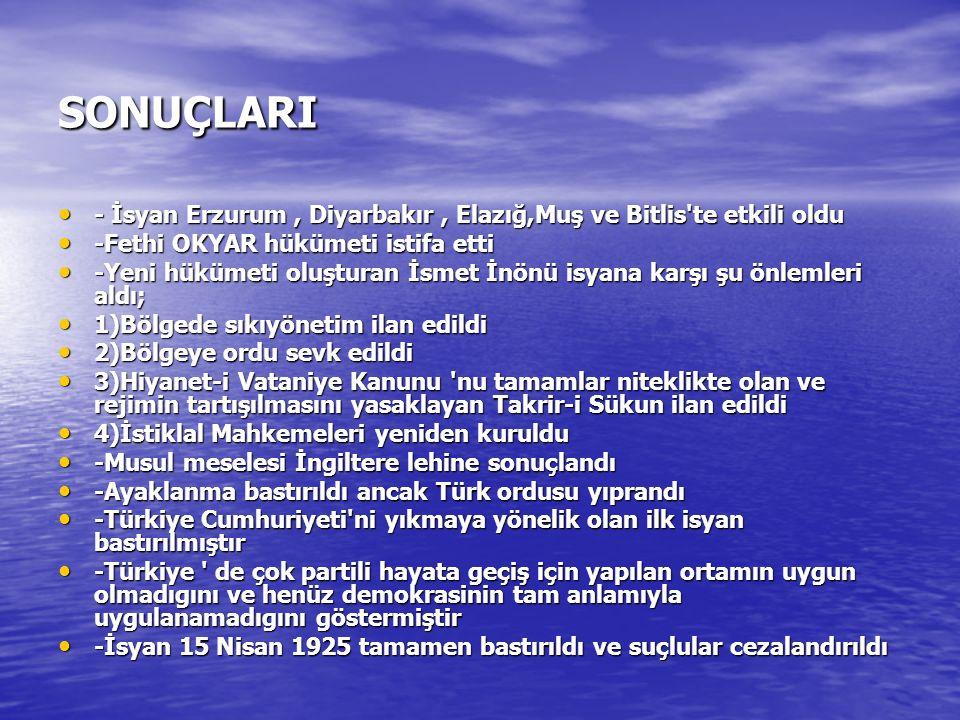 - İsyan Erzurum, Diyarbakır, Elazığ,Muş ve Bitlis'te etkili oldu - İsyan Erzurum, Diyarbakır, Elazığ,Muş ve Bitlis'te etkili oldu -Fethi OKYAR hükümet