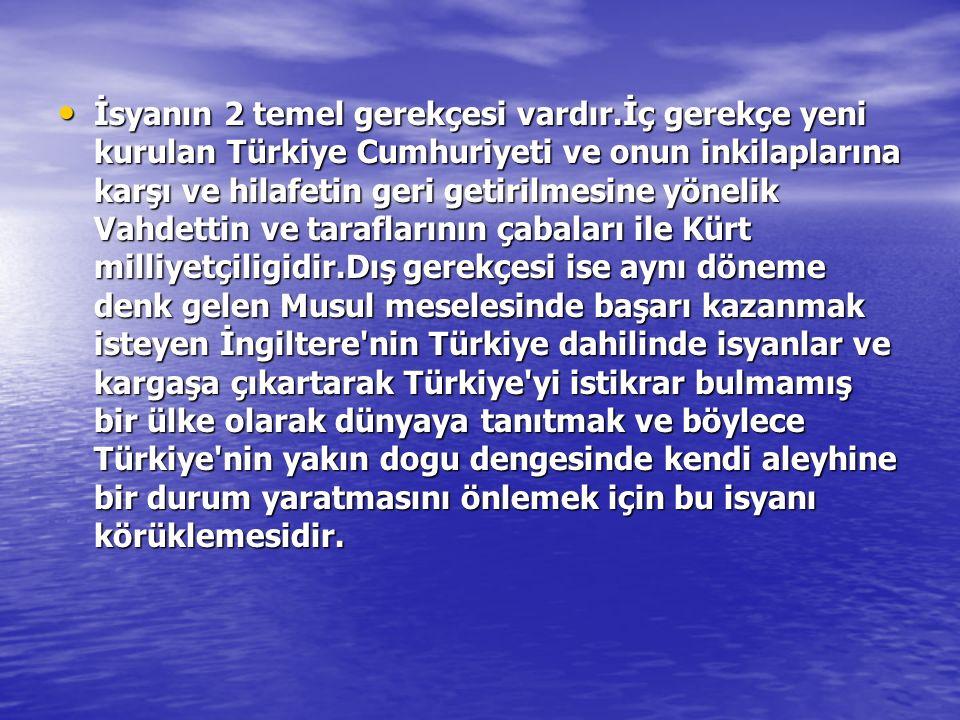 İsyanın 2 temel gerekçesi vardır.İç gerekçe yeni kurulan Türkiye Cumhuriyeti ve onun inkilaplarına karşı ve hilafetin geri getirilmesine yönelik Vahde