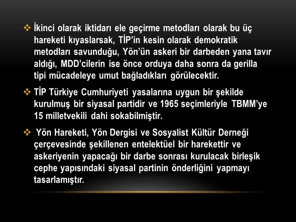  İkinci olarak iktidarı ele geçirme metodları olarak bu üç hareketi kıyaslarsak, TİP'in kesin olarak demokratik metodları savunduğu, Yön'ün askeri bi