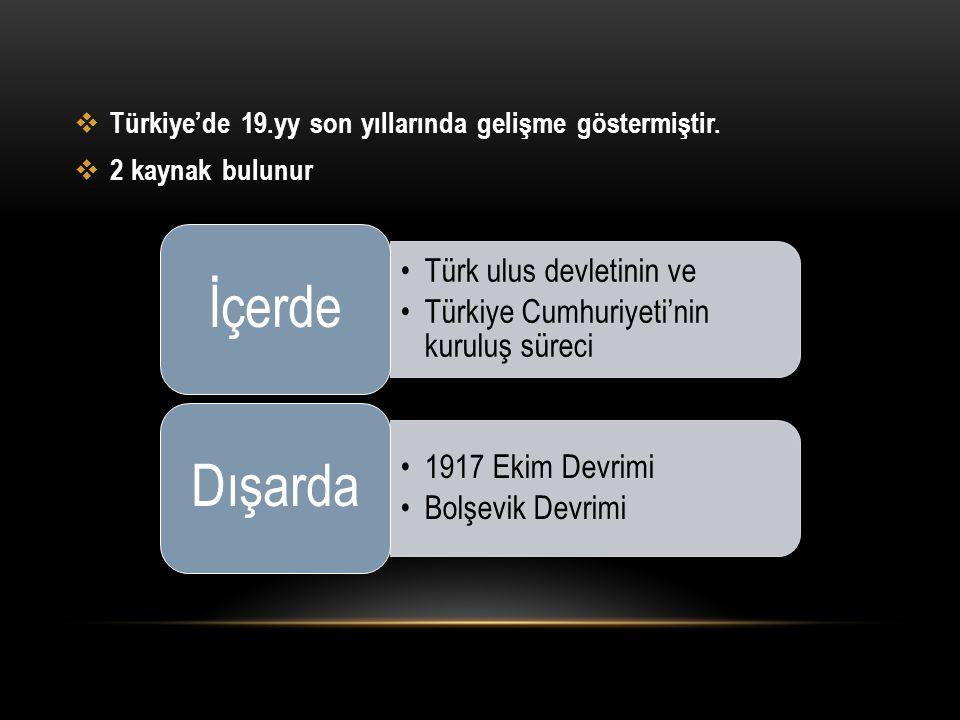  Türkiye'de 19.yy son yıllarında gelişme göstermiştir.  2 kaynak bulunur Türk ulus devletinin ve Türkiye Cumhuriyeti'nin kuruluş süreci İçerde 1917