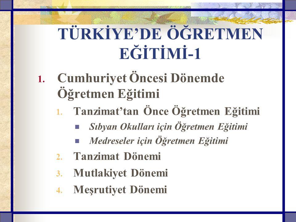 TÜRKİYE'DE ÖĞRETMEN EĞİTİMİ-1 1. Cumhuriyet Öncesi Dönemde Öğretmen Eğitimi 1. Tanzimat'tan Önce Öğretmen Eğitimi Sıbyan Okulları için Öğretmen Eğitim