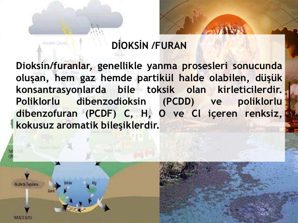 DİOKSİN /FURAN Dioksin/furanlar, genellikle yanma prosesleri sonucunda oluşan, hem gaz hemde partikül halde olabilen, düşük konsantrasyonlarda bile toksik olan kirleticilerdir.