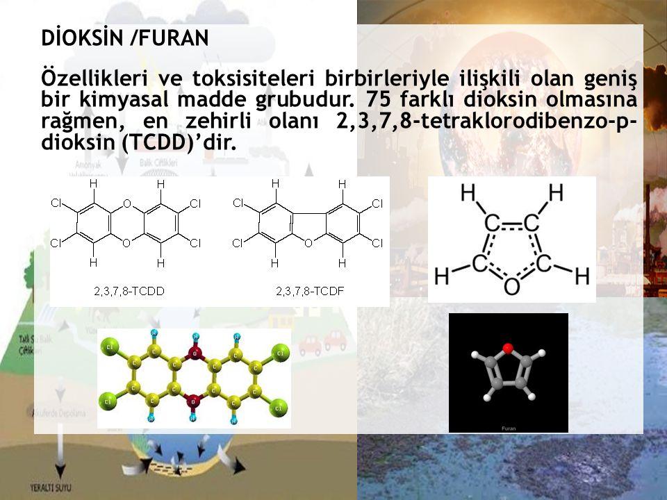 DİOKSİN /FURAN Özellikleri ve toksisiteleri birbirleriyle ilişkili olan geniş bir kimyasal madde grubudur.