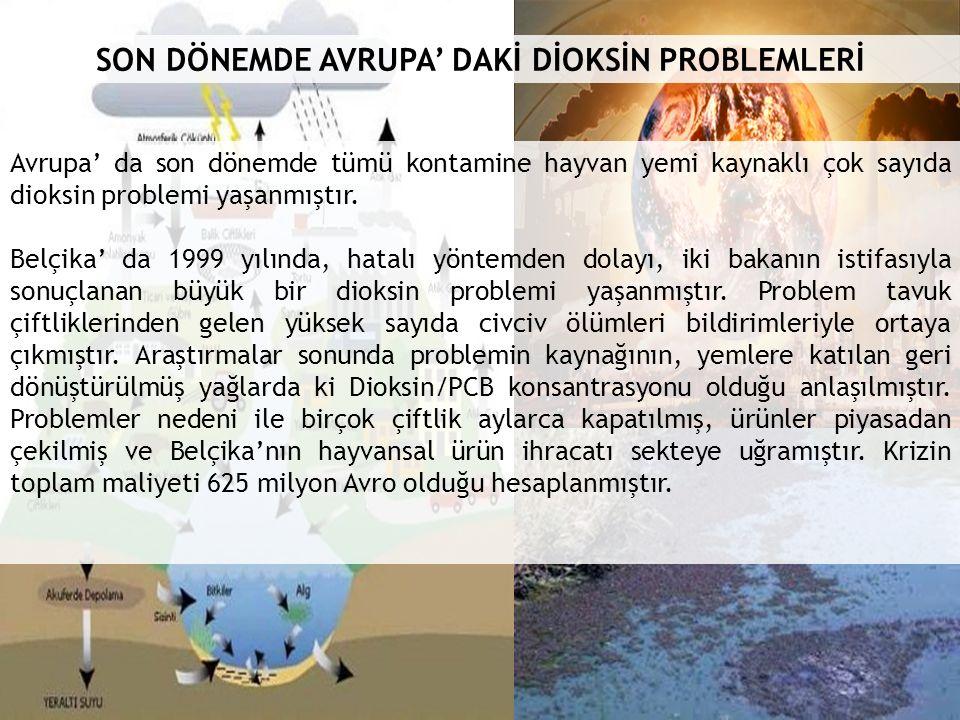 SON DÖNEMDE AVRUPA' DAKİ DİOKSİN PROBLEMLERİ Avrupa' da son dönemde tümü kontamine hayvan yemi kaynaklı çok sayıda dioksin problemi yaşanmıştır.
