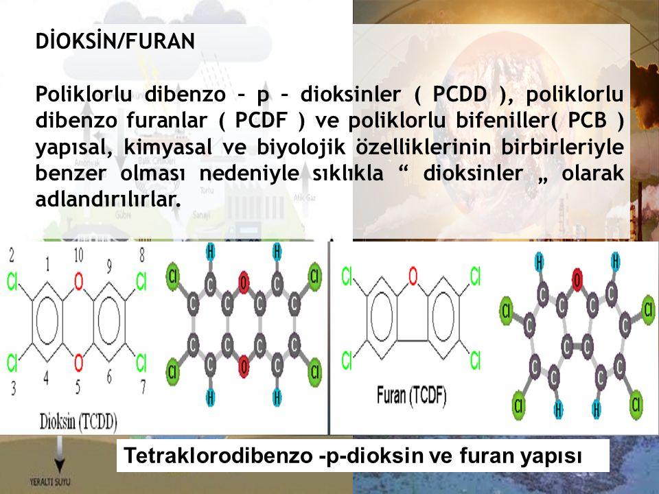 """DİOKSİN/FURAN Poliklorlu dibenzo – p – dioksinler ( PCDD ), poliklorlu dibenzo furanlar ( PCDF ) ve poliklorlu bifeniller( PCB ) yapısal, kimyasal ve biyolojik özelliklerinin birbirleriyle benzer olması nedeniyle sıklıkla dioksinler """" olarak adlandırılırlar."""