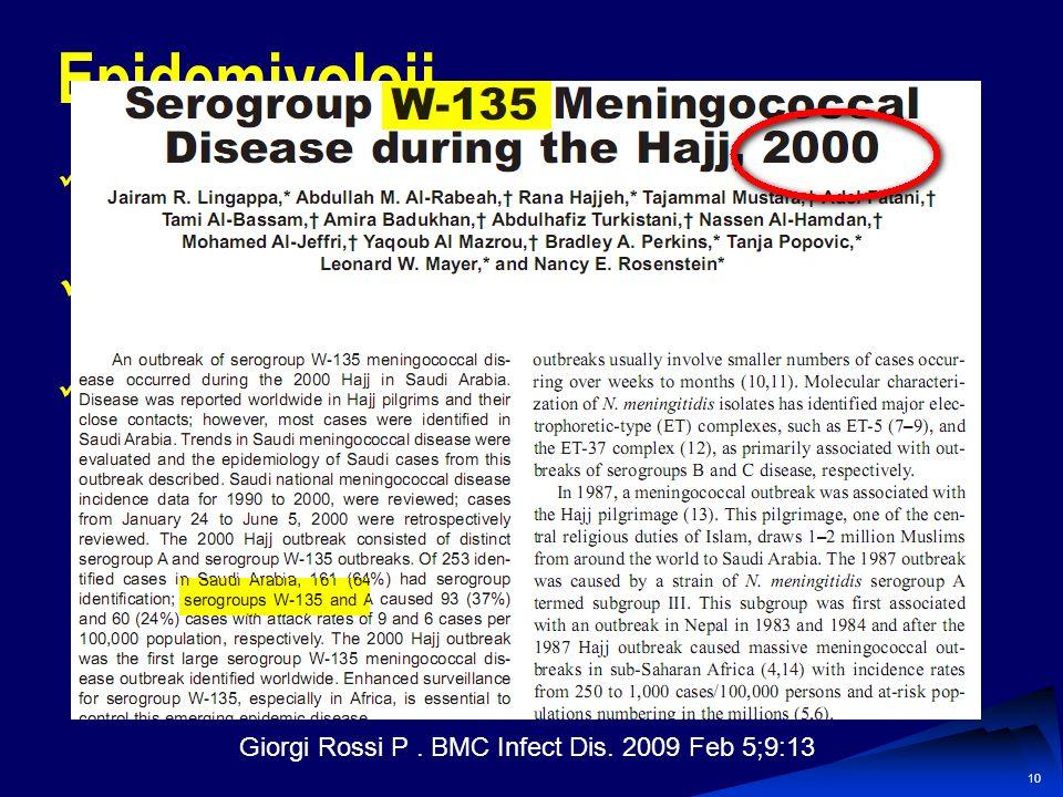 9 Epidemiyoloji Bakteriyel menenjit sıklığı her geçen gün ↓↓↓ Aşılama Hastalık insidansı, her 100.000 nüfusa Gelişmiş ülkelerde her 1,1 Gelişmekte ola