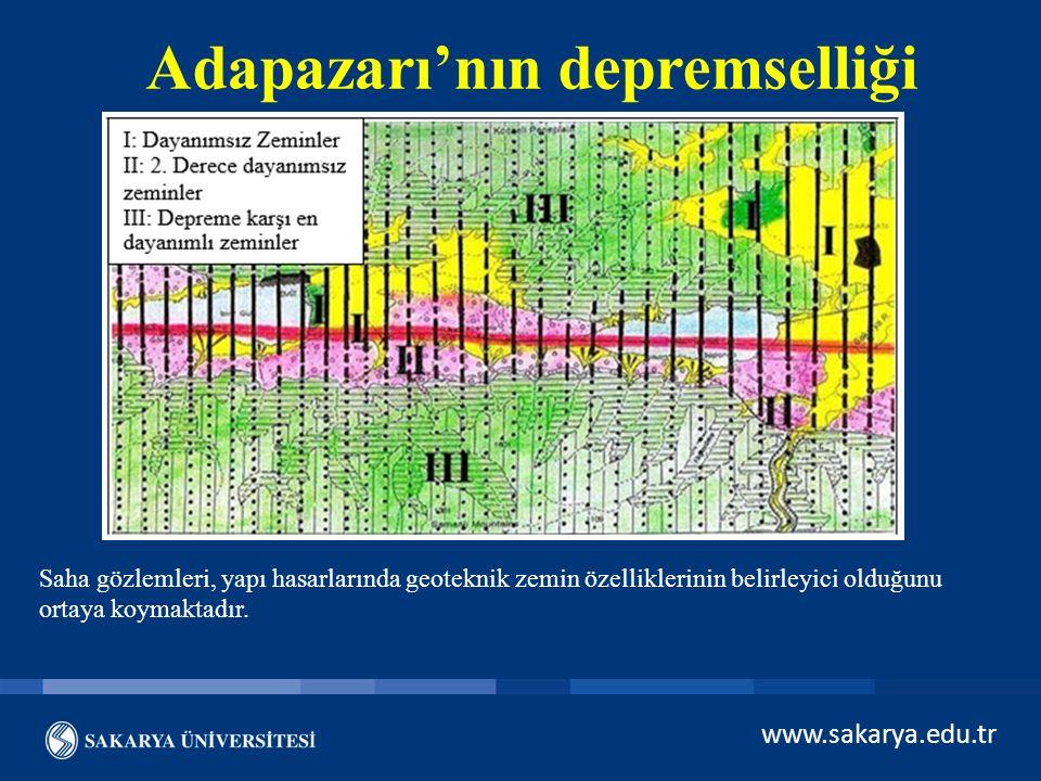 Adapazarı'nın depremselliği Saha gözlemleri, yapı hasarlarında geoteknik zemin özelliklerinin belirleyici olduğunu ortaya koymaktadır.