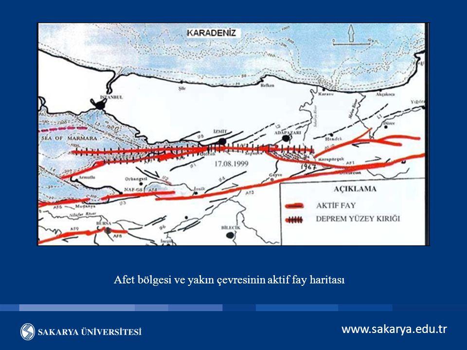 www.sakarya.edu.tr Afet bölgesi ve yakın çevresinin aktif fay haritası