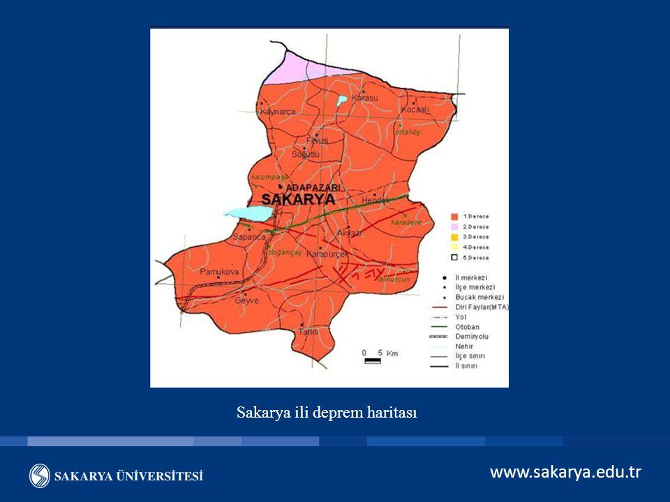 www.sakarya.edu.tr Sakarya ili deprem haritası