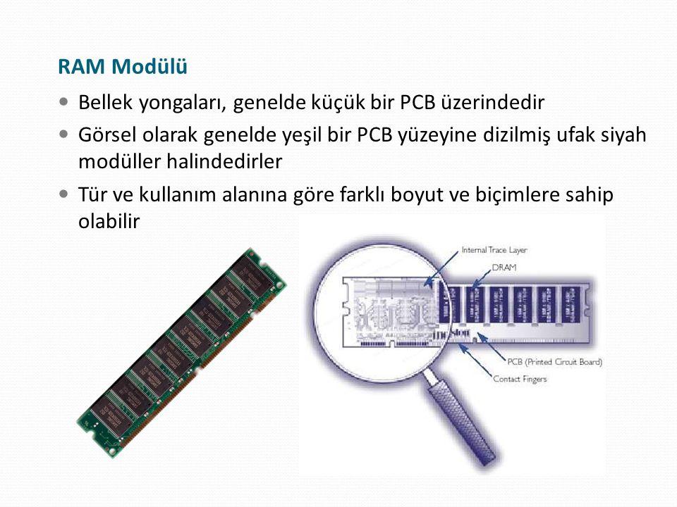 RAM Modülü Bellek yongaları, genelde küçük bir PCB üzerindedir Görsel olarak genelde yeşil bir PCB yüzeyine dizilmiş ufak siyah modüller halindedirler