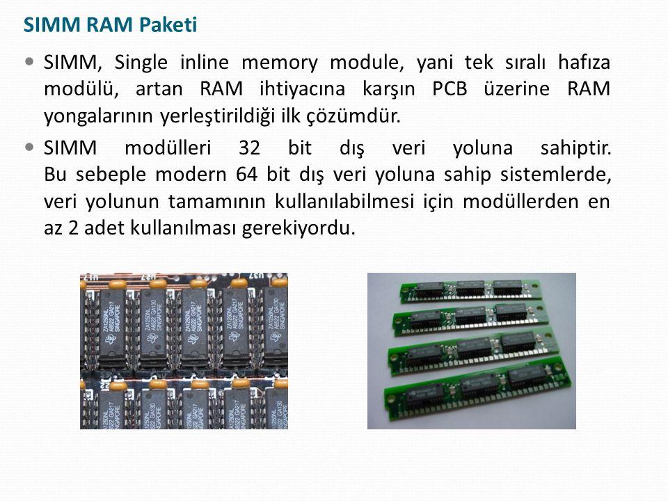 DRAM: Dynamic Random Access Memory Mikroskobik kapasitörler ve transistörler sayesinde 1 ve 0'ları saklayan özel bir tür yarı iletkendir (semiconductor) Tek bir yonga bu kapasitör transistor kombinasyonundan milyonlarca içerebilir En popüler bellek türüdür DRAM