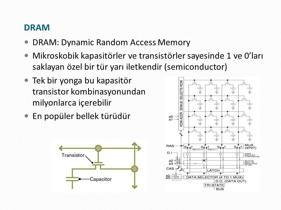 DRAM: Dynamic Random Access Memory Mikroskobik kapasitörler ve transistörler sayesinde 1 ve 0'ları saklayan özel bir tür yarı iletkendir (semiconducto
