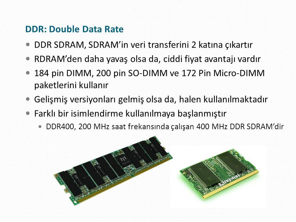 DDR: Double Data Rate DDR SDRAM, SDRAM'in veri transferini 2 katına çıkartır RDRAM'den daha yavaş olsa da, ciddi fiyat avantajı vardır 184 pin DIMM, 2