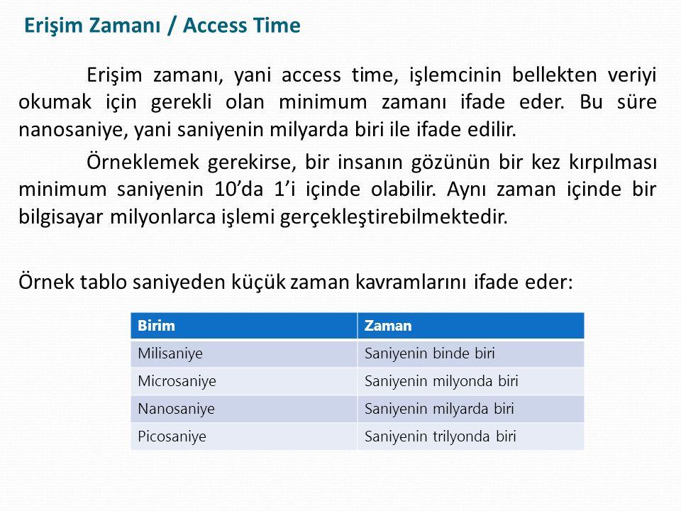 Erişim zamanı, yani access time, işlemcinin bellekten veriyi okumak için gerekli olan minimum zamanı ifade eder. Bu süre nanosaniye, yani saniyenin mi