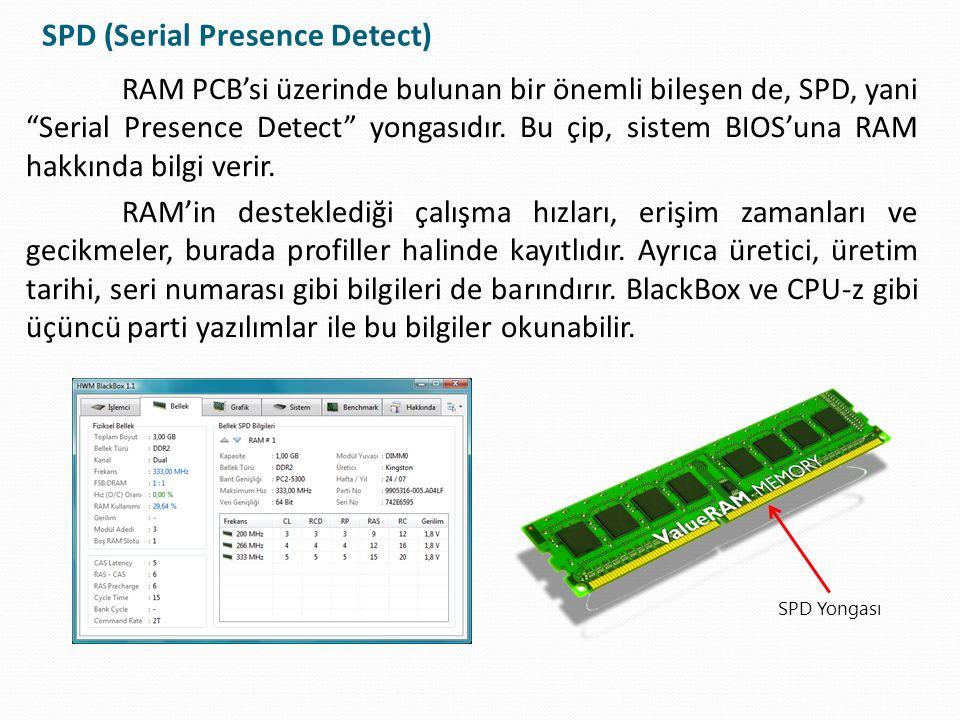 """SPD (Serial Presence Detect) RAM PCB'si üzerinde bulunan bir önemli bileşen de, SPD, yani """"Serial Presence Detect"""" yongasıdır. Bu çip, sistem BIOS'una"""