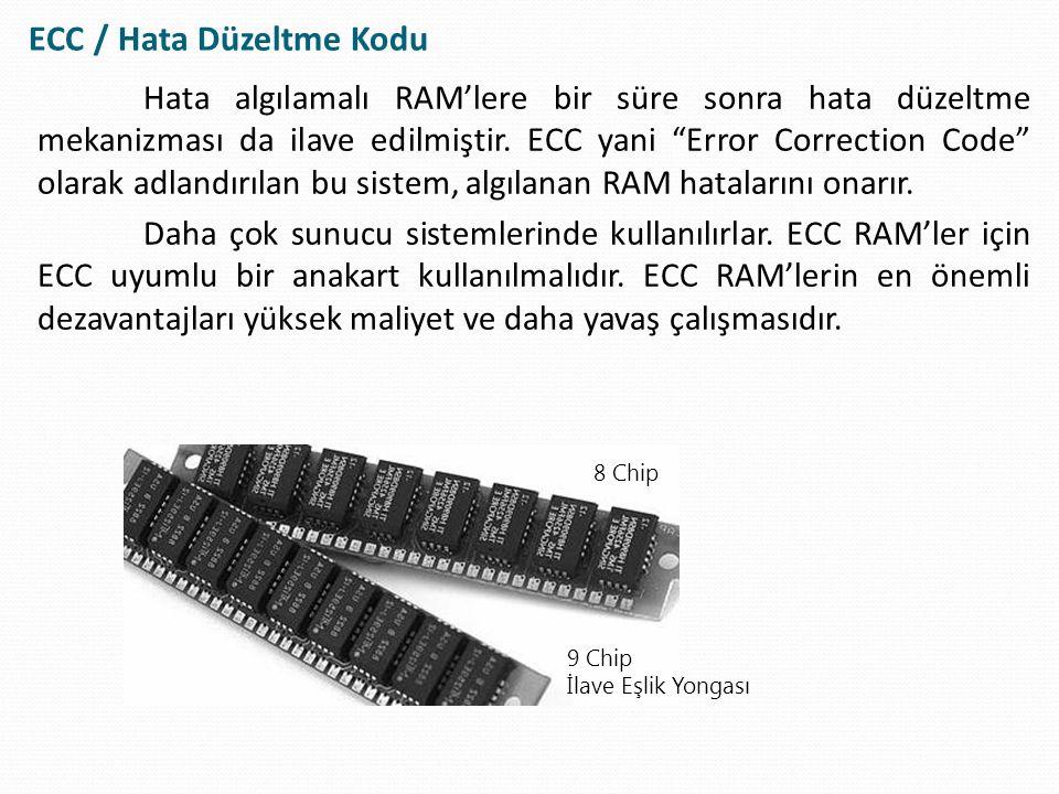 """Hata algılamalı RAM'lere bir süre sonra hata düzeltme mekanizması da ilave edilmiştir. ECC yani """"Error Correction Code"""" olarak adlandırılan bu sistem,"""