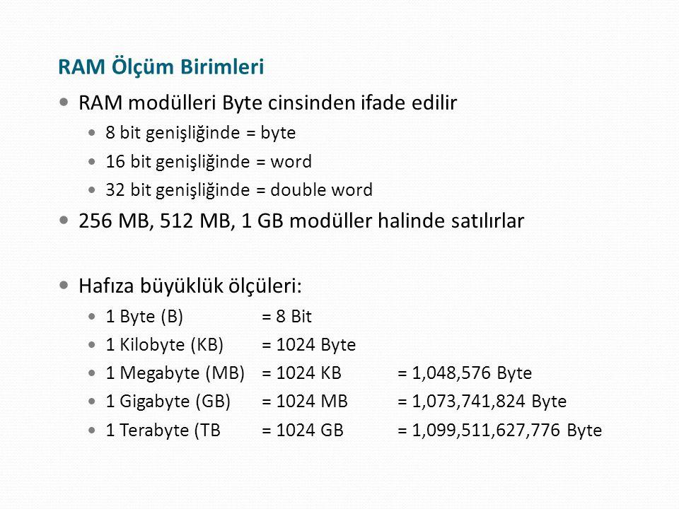 RAM Ölçüm Birimleri RAM modülleri Byte cinsinden ifade edilir 8 bit genişliğinde = byte 16 bit genişliğinde = word 32 bit genişliğinde = double word 2