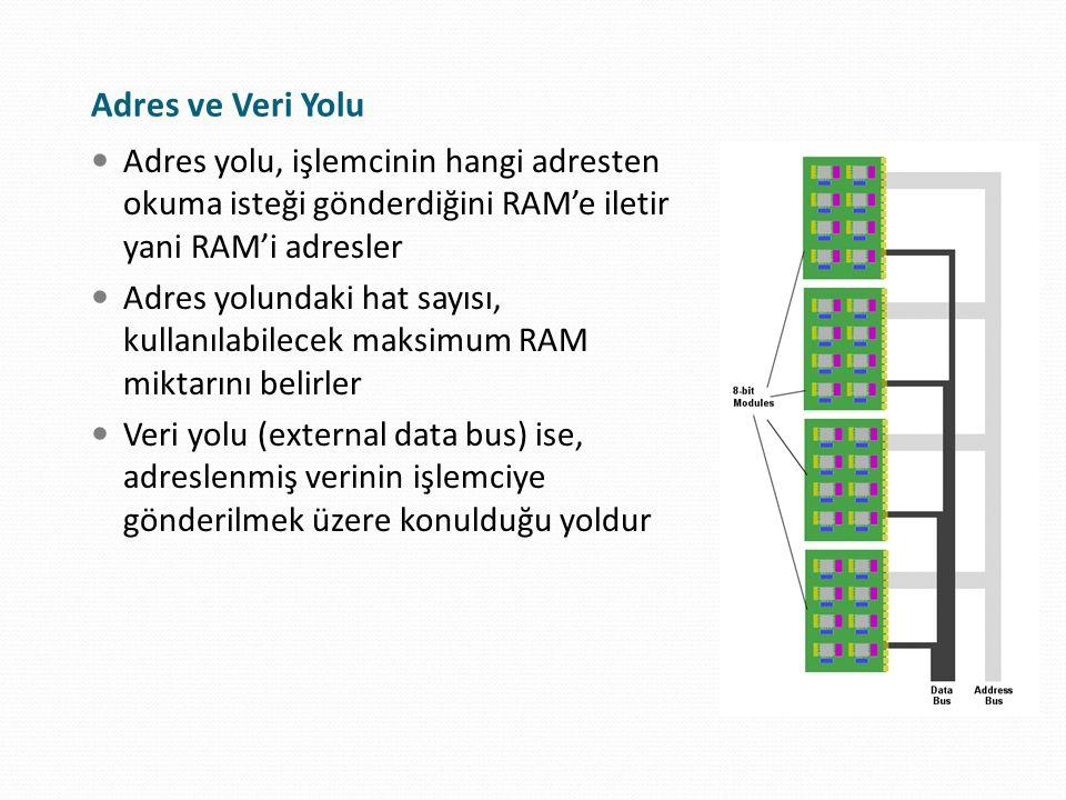 Adres yolu, işlemcinin hangi adresten okuma isteği gönderdiğini RAM'e iletir yani RAM'i adresler Adres yolundaki hat sayısı, kullanılabilecek maksimum