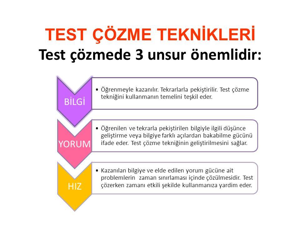 TEST ÇÖZME TEKNİKLERİ Test çözmede 3 unsur önemlidir: BİLGİ Öğrenmeyle kazanılır. Tekrarlarla pekiştirilir. Test çözme tekniğini kullanmanın temelini